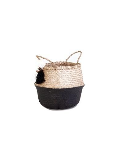 Kanca Ev Siyah-Beyaz Püsküllü Katlanır Göbekli Hasır Sepet, 30Cm. Siyah